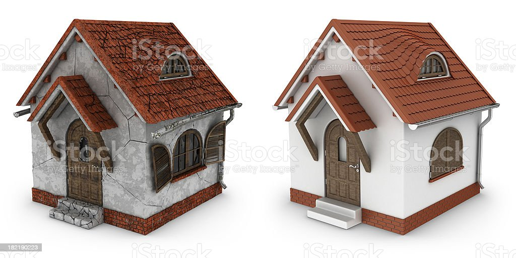 damaged and renovated houses royalty-free stock photo