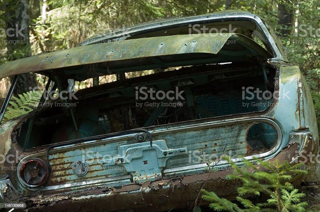 Damaged and rusty car in a junkyard stock photo