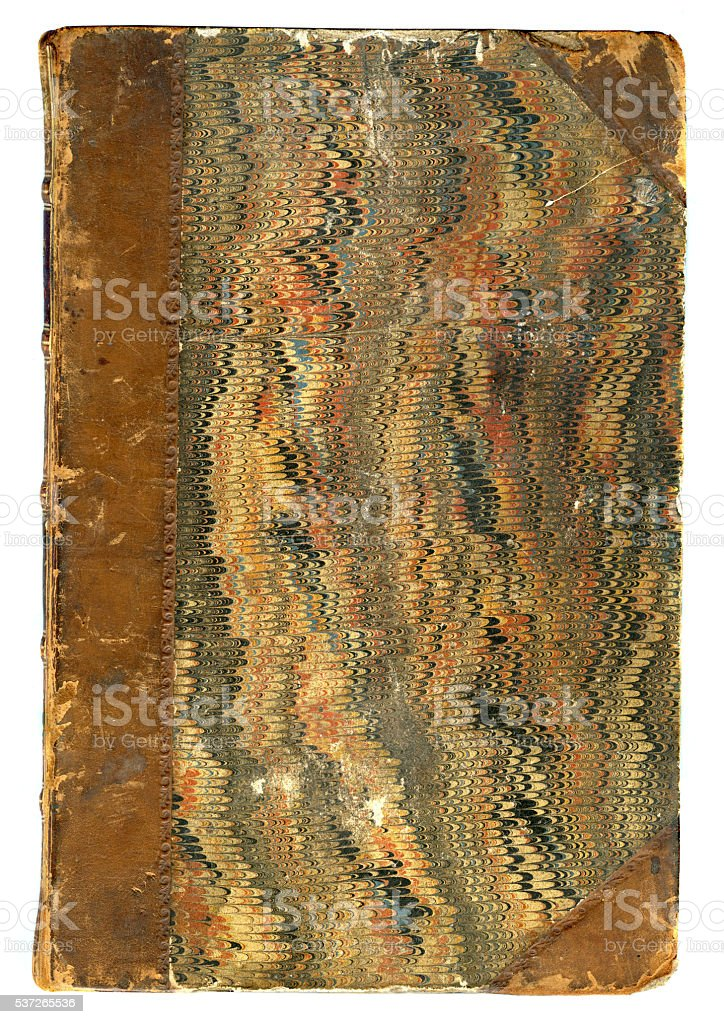 Damaged antique book cover stock photo