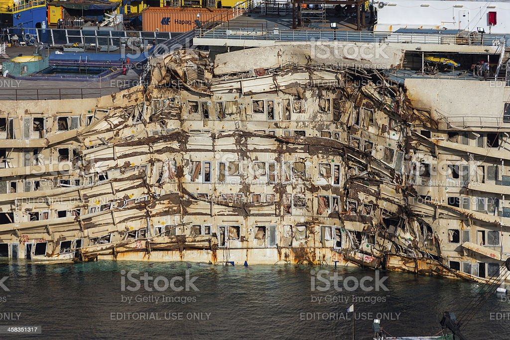 Damaged Area Of Costa Concordia stock photo