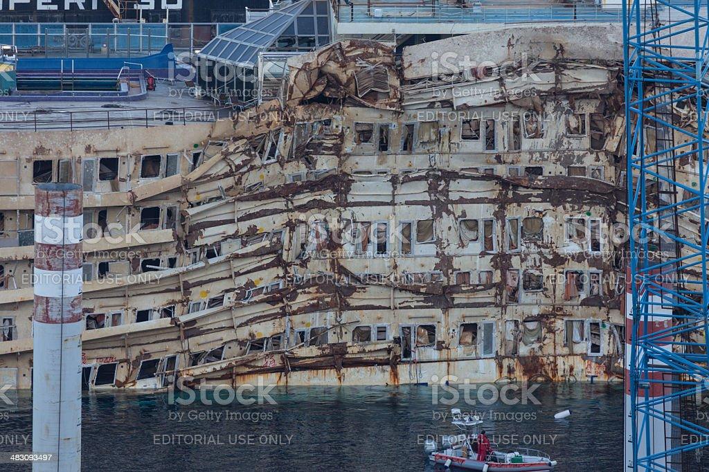 Damaged Area of Costa Concordia stock photo