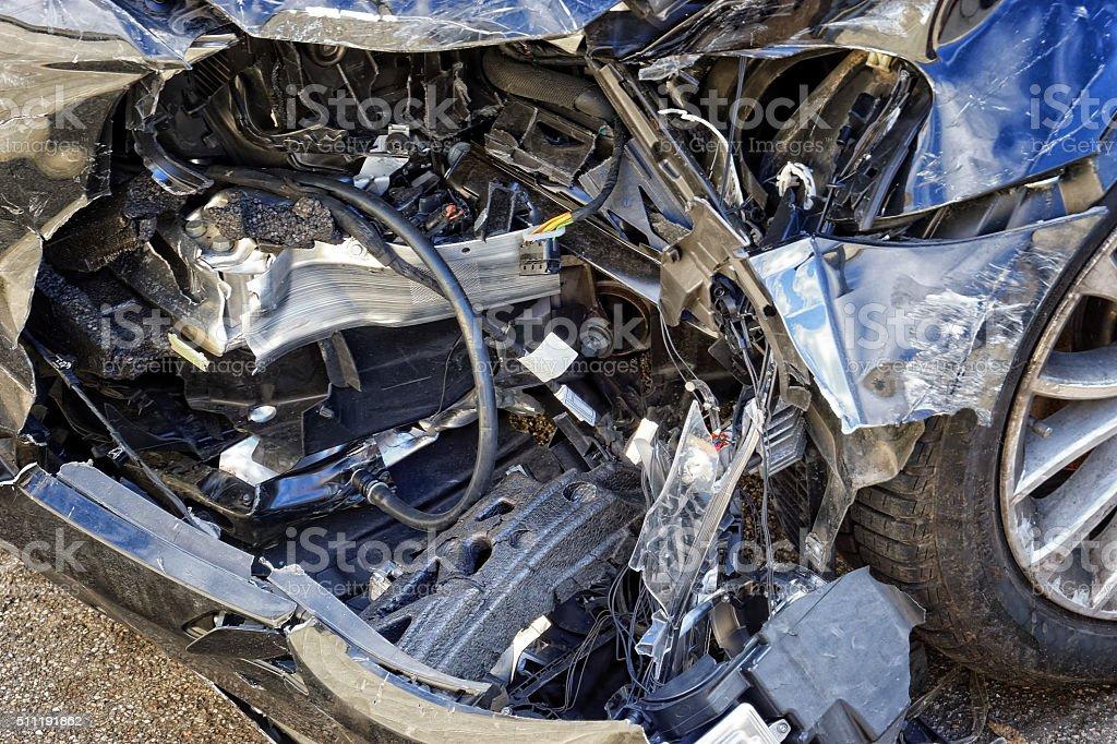 Damaged Blue Car stock photo