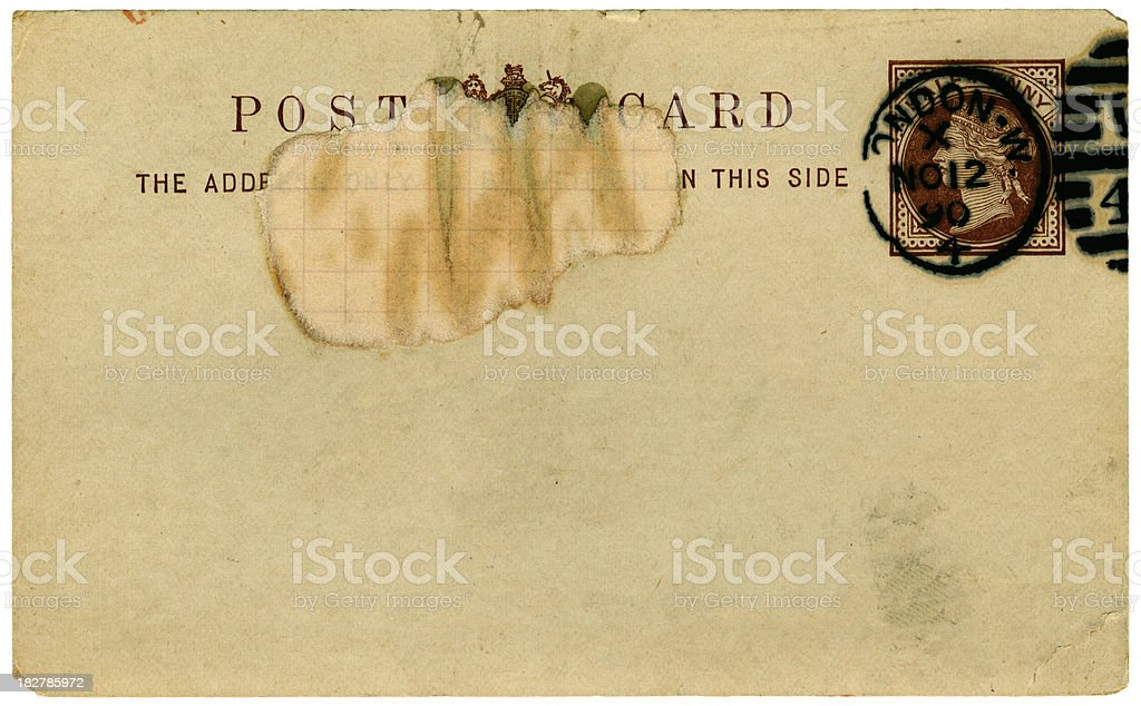 Damaged British Victorian postcard from 1890 royalty-free stock photo
