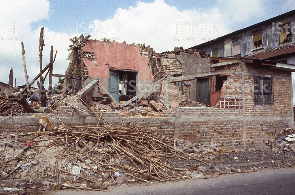 Damaged Buildings Debris Earthquake 1985 El Salvador Central America stock photo