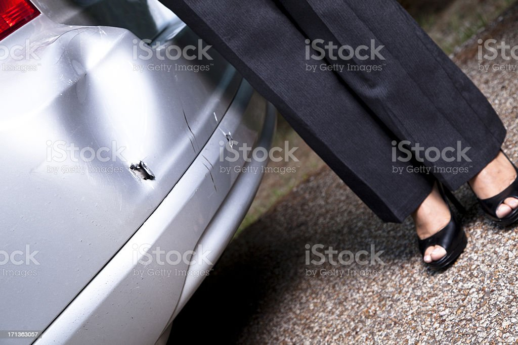 Damaged bumper from vehicle accident. royalty-free stock photo