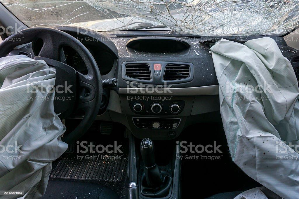Damaged Car Dashboard stock photo