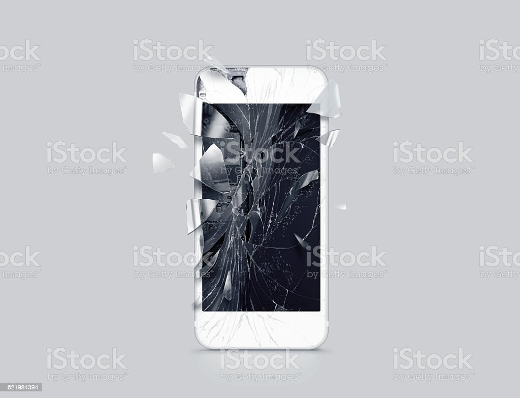 Damaged cell phone display, scattered shards, 3d rendering stock photo