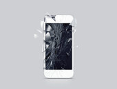 Damaged cell phone display, scattered shards, 3d rendering