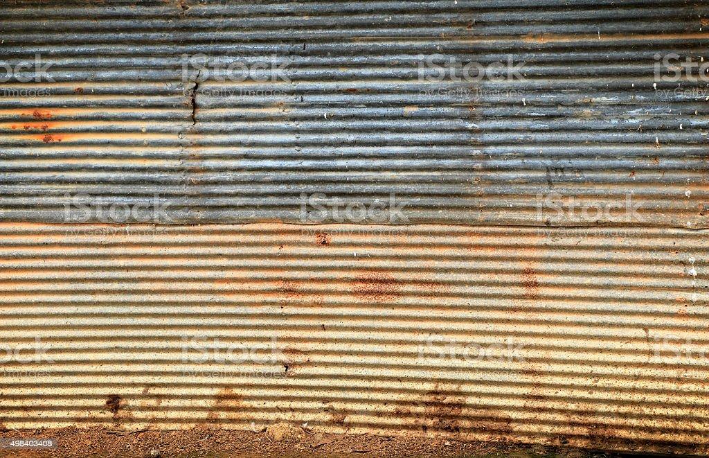 Damaged Corrugated Metal Background stock photo