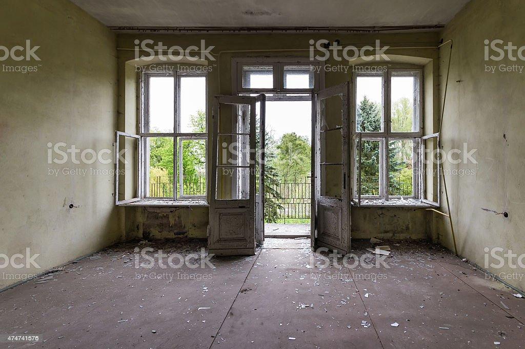 Damaged door open stock photo