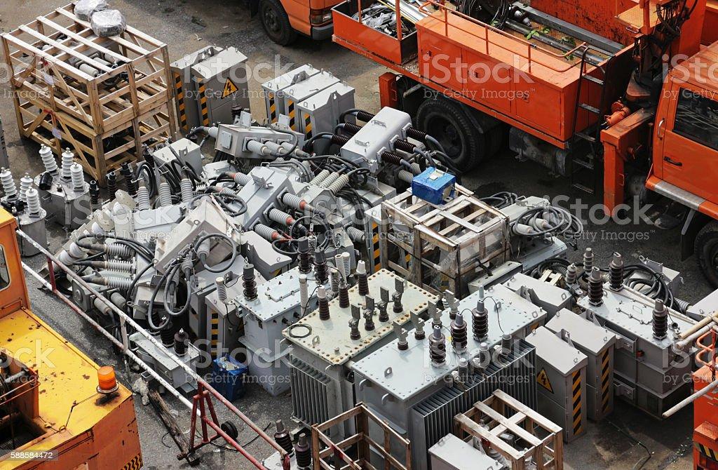 Damaged Electrical Equipment Yard stock photo