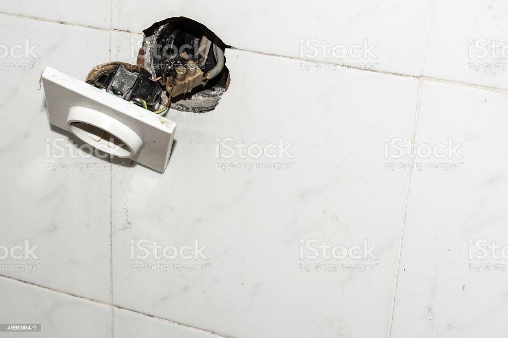 Damaged electrical socket royalty-free stock photo