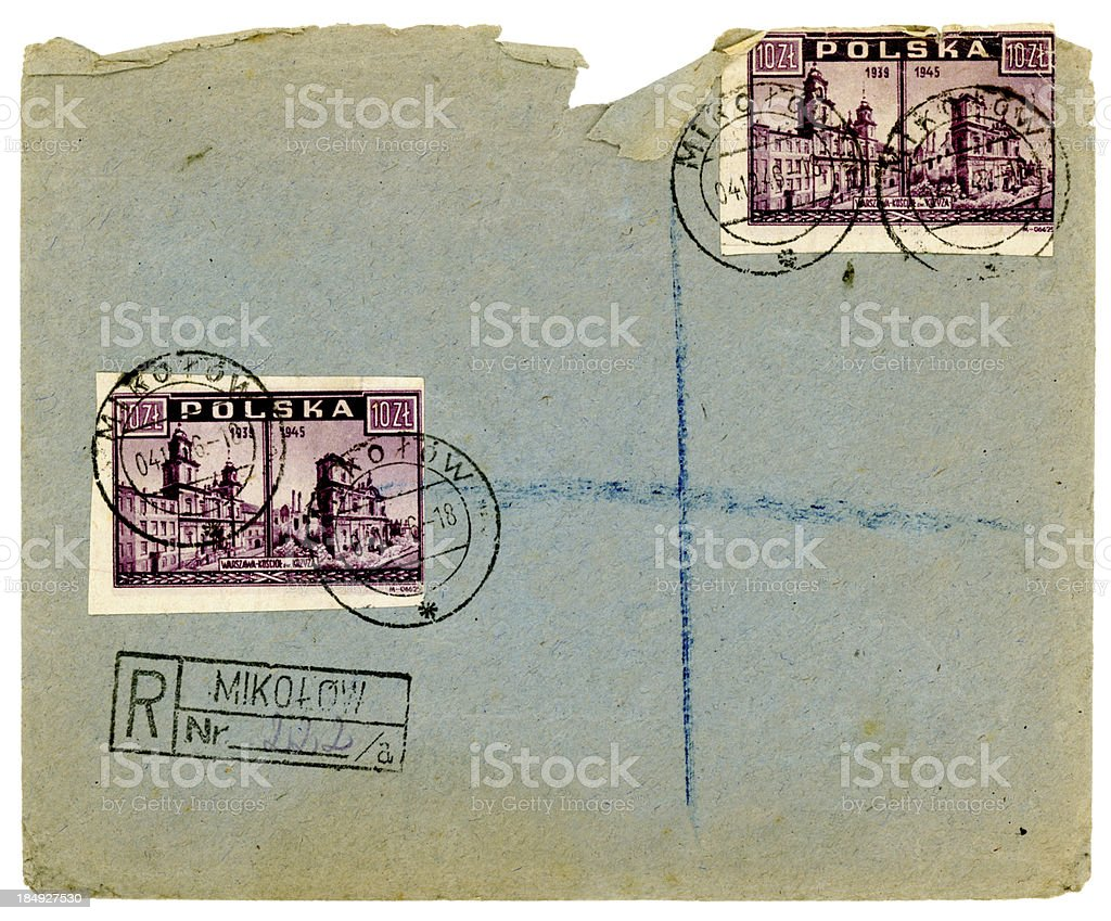 Damaged envelope from Mikolow, Poland, 1946 stock photo