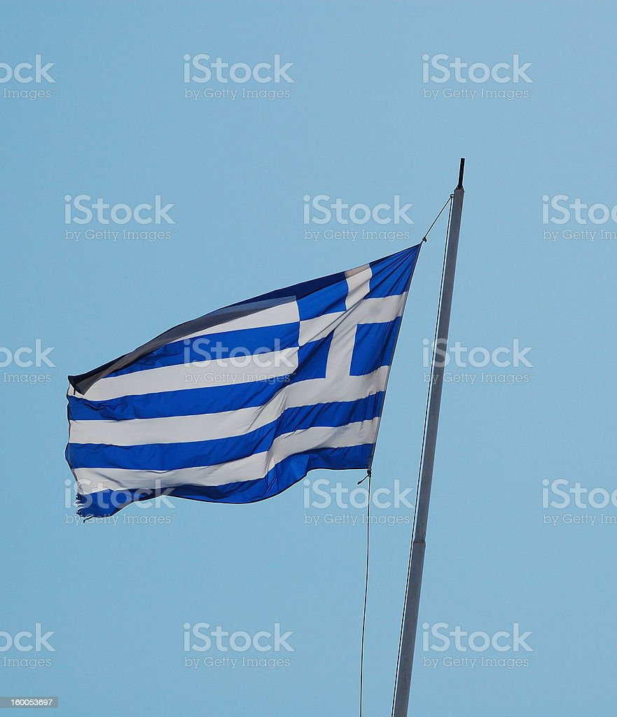 damaged flag of greece royalty-free stock photo