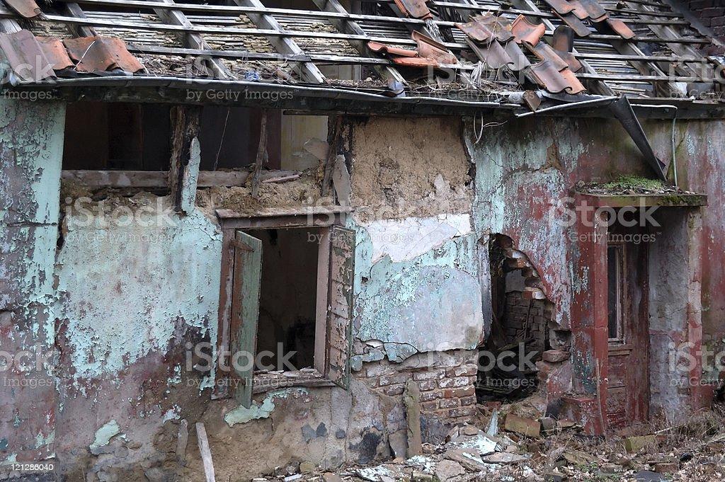 damaged home stock photo