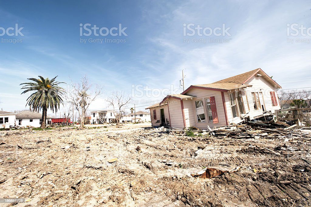 Damaged house from a hurricane in Galveston, Texas stock photo
