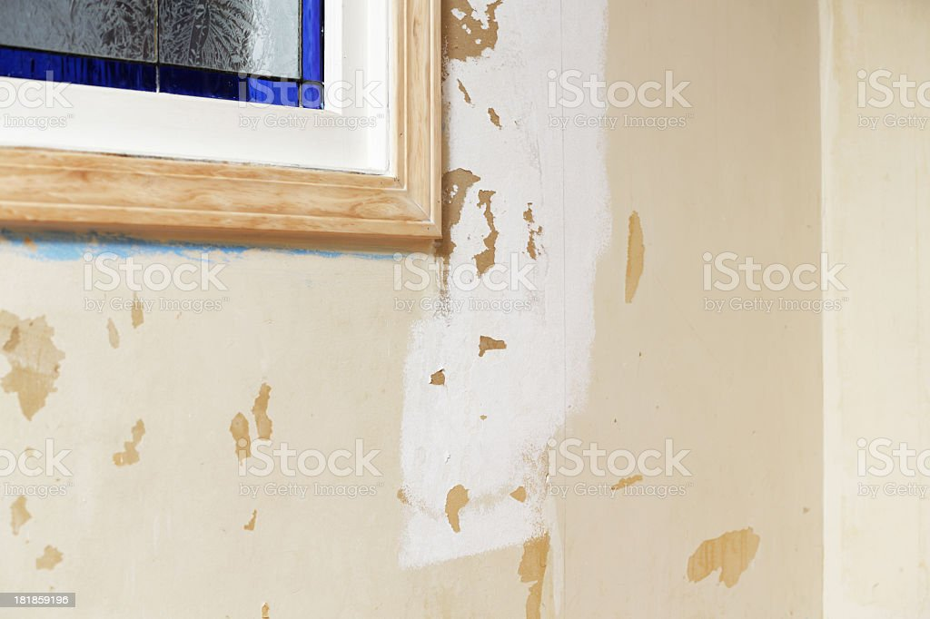 Damaged Interior Wall During Renovation stock photo