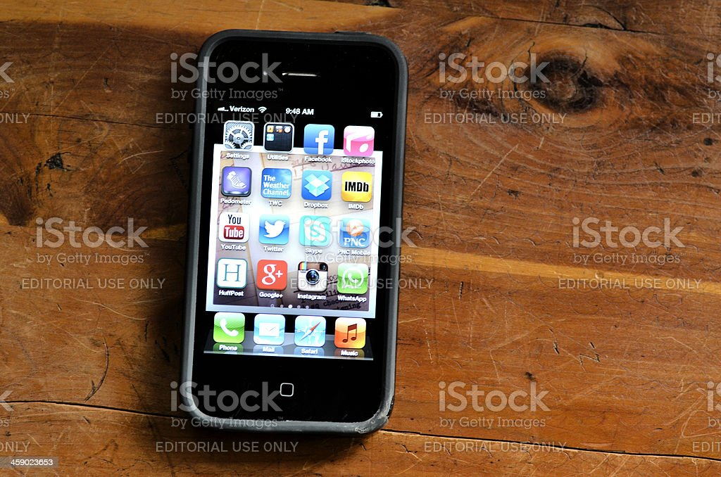 Damaged iPhone and speck Case stock photo