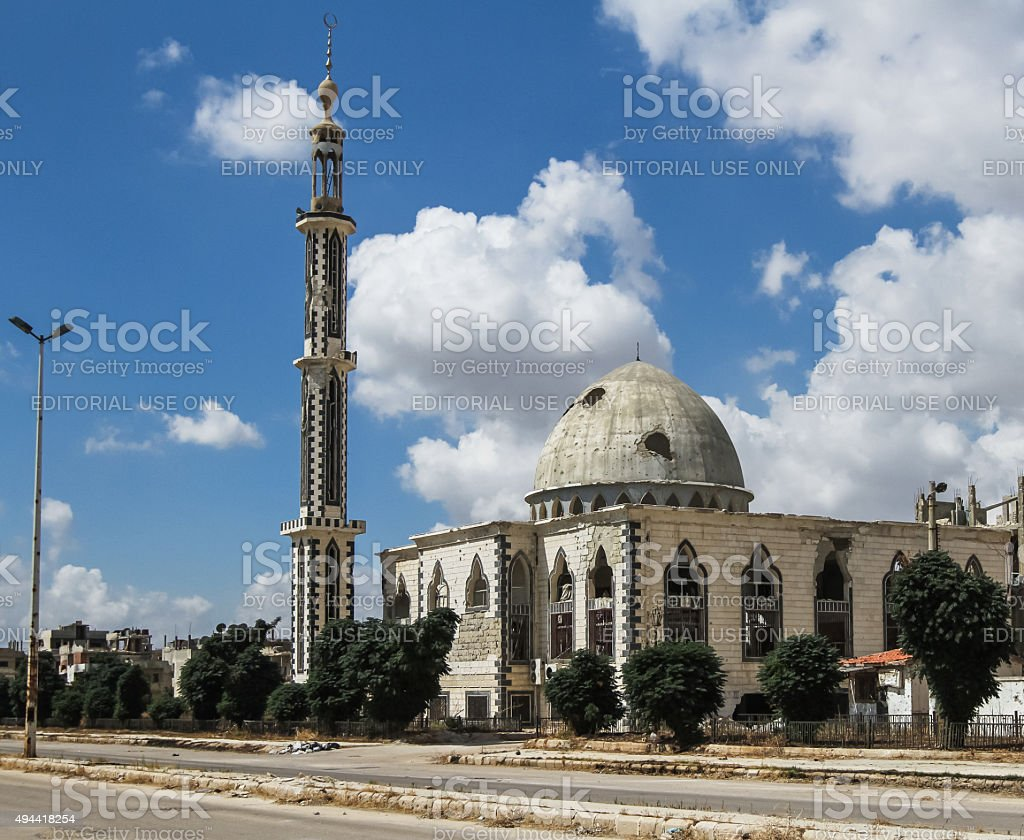 Damaged mosque in Homs stock photo