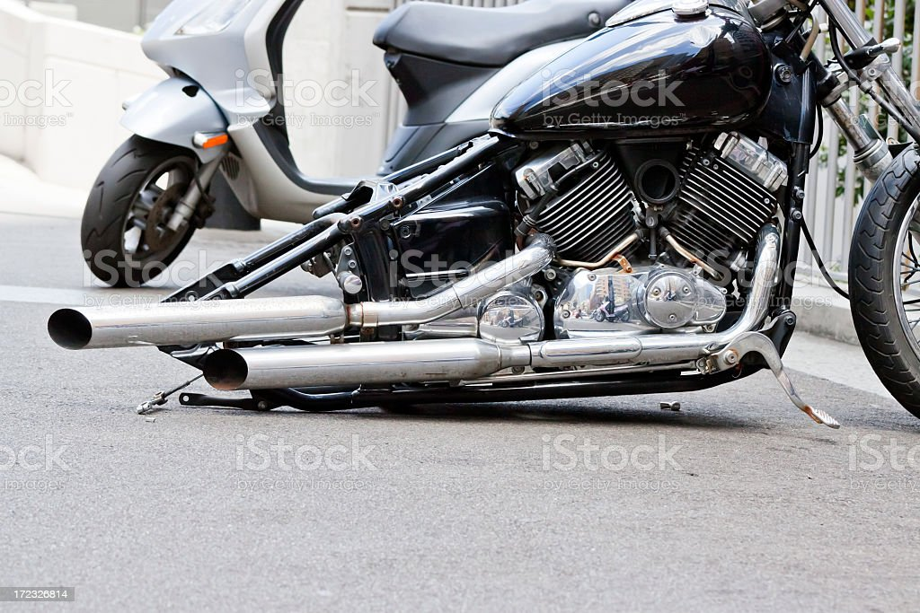 Damaged motorcycle without rear wheel, copy sace stock photo