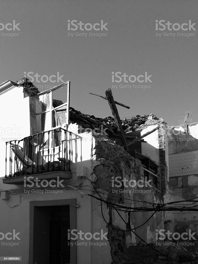 Damaged old house, Spain stock photo