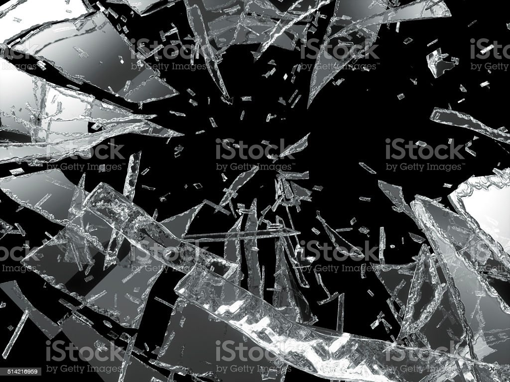 Damaged or broken glass over black stock photo