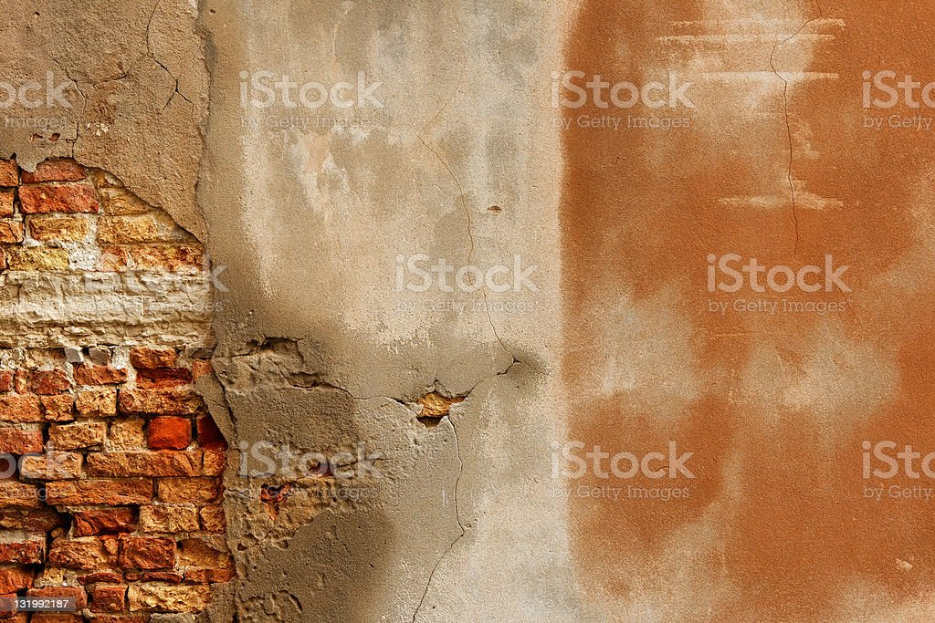 damaged red brick wall royalty-free stock photo
