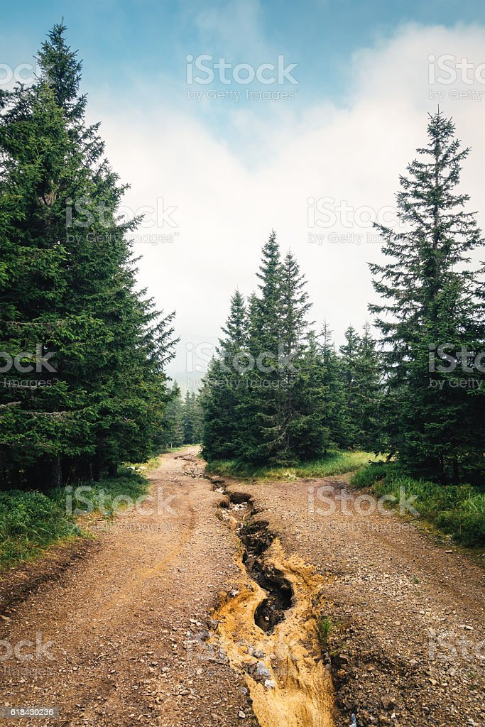 Damaged Road After The Flood stock photo