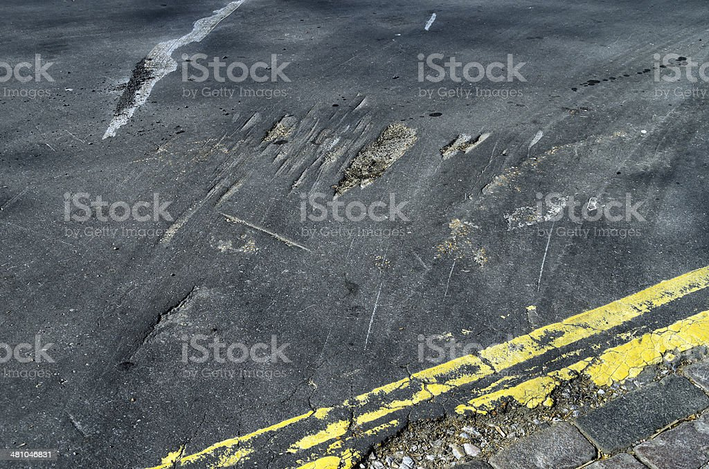 Damaged road surface royalty-free stock photo