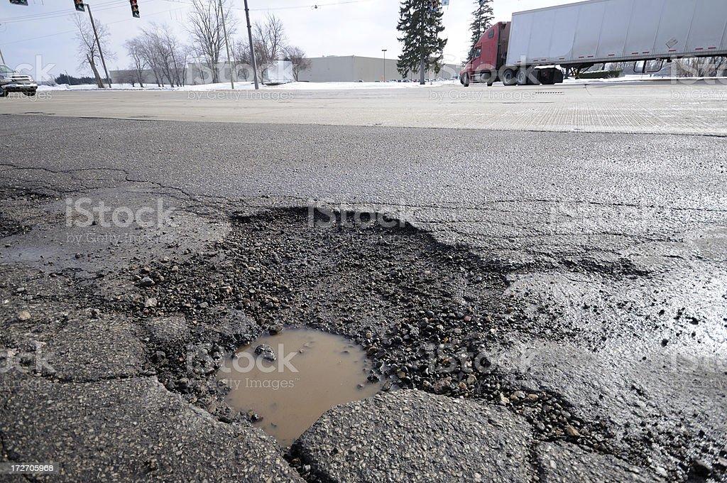 Damaged roadway royalty-free stock photo