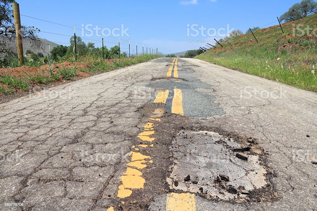 Damaged roadway stock photo
