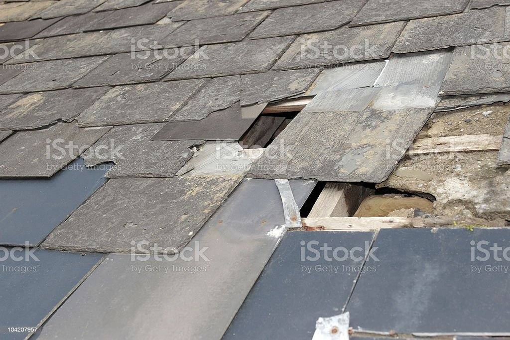 damaged roof stock photo