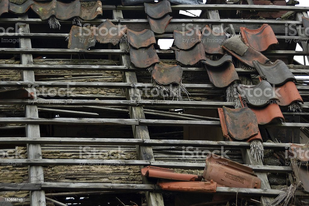 damaged roof stock photo