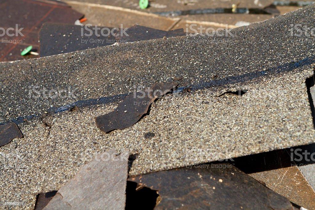Damaged Roof Shingles Trash Pile stock photo