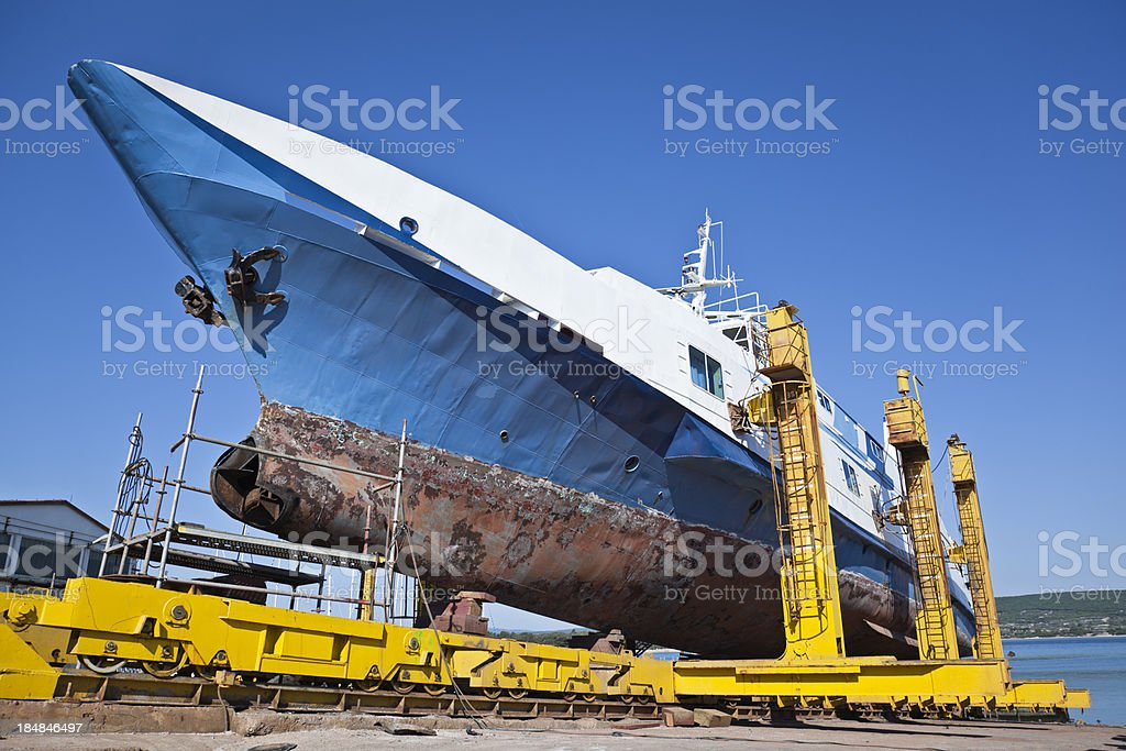 damaged ship in a dry dock royalty-free stock photo