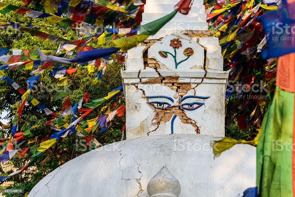 Damaged stupa in kathmandu stock photo