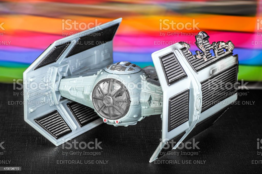 Damaged tie fighter spaceship toy from Star Wars saga movie stock photo