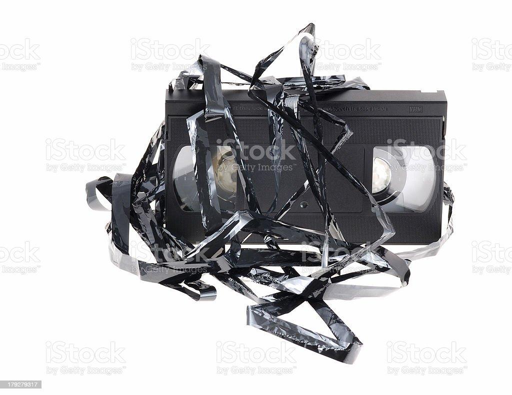 damaged video tape stock photo