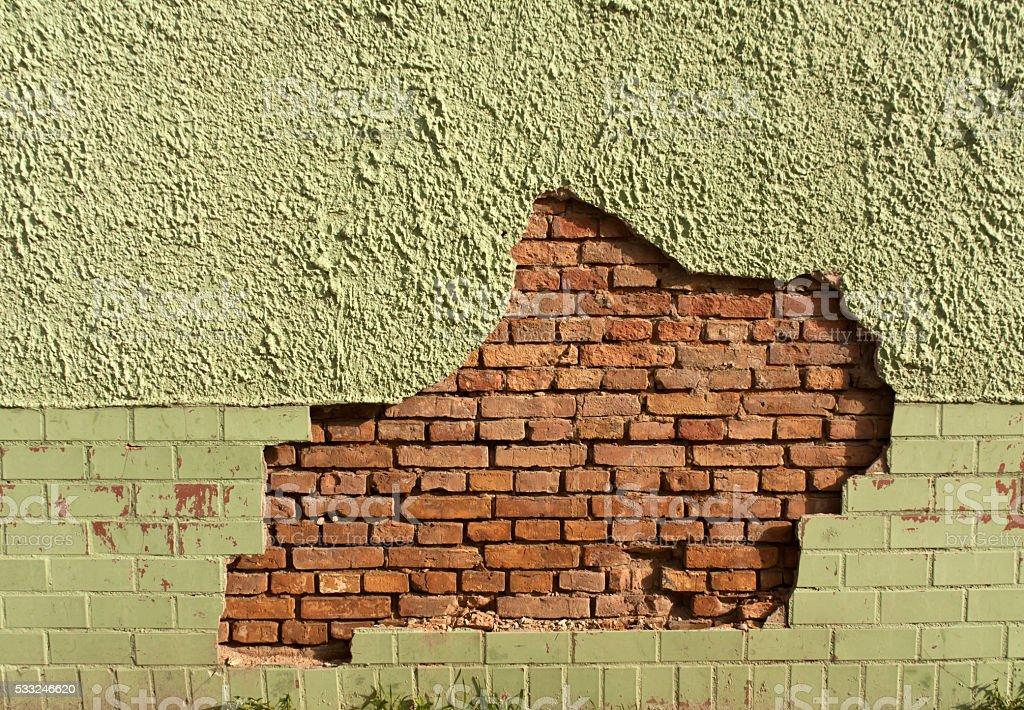 Damaged wall. stock photo