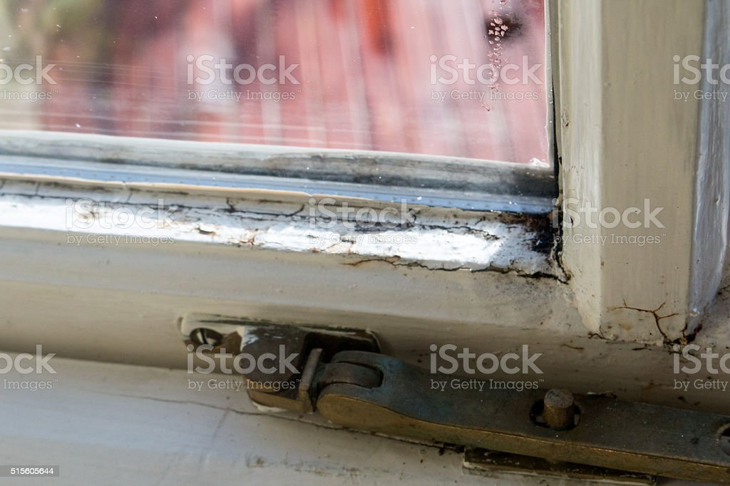 damaged window stock photo