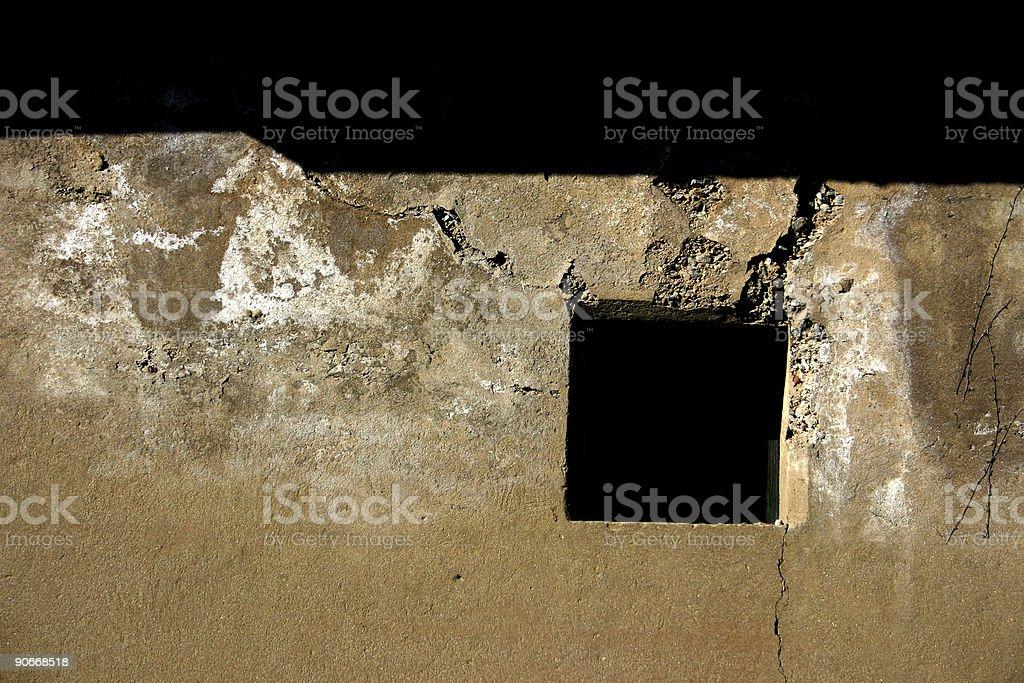 Damaged window (horizontal) stock photo