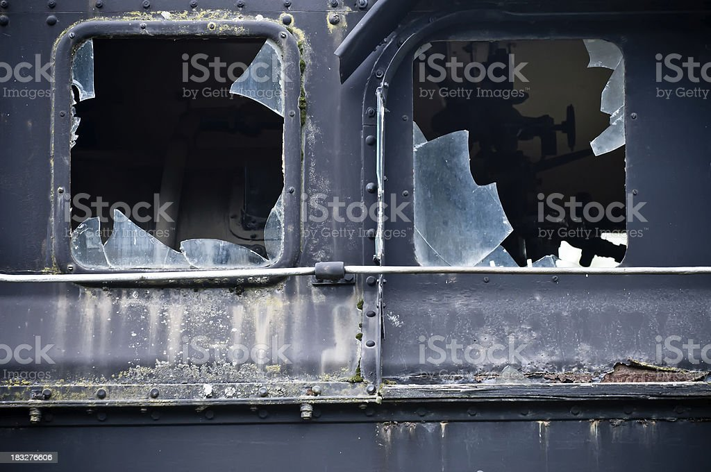 Damaged  Windows on abandoned Train royalty-free stock photo