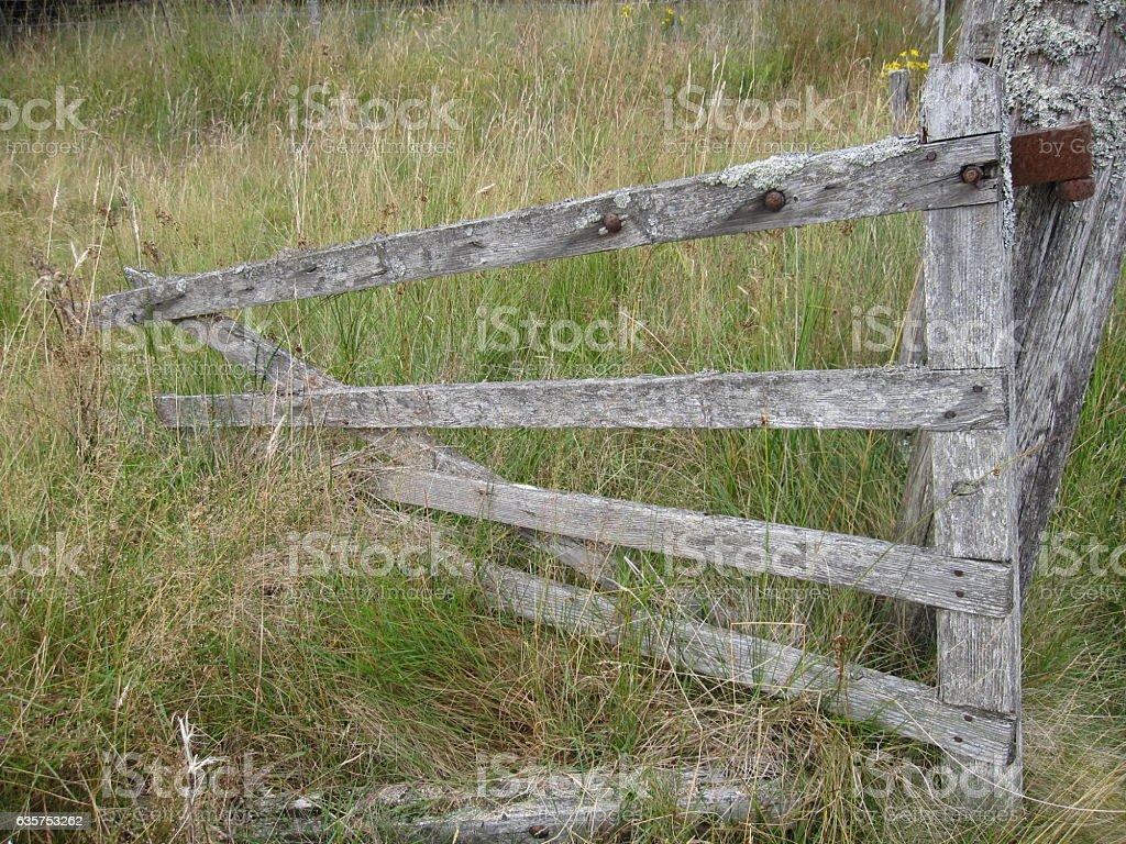 Damaged Wooden Farm Gate, Scotland stock photo