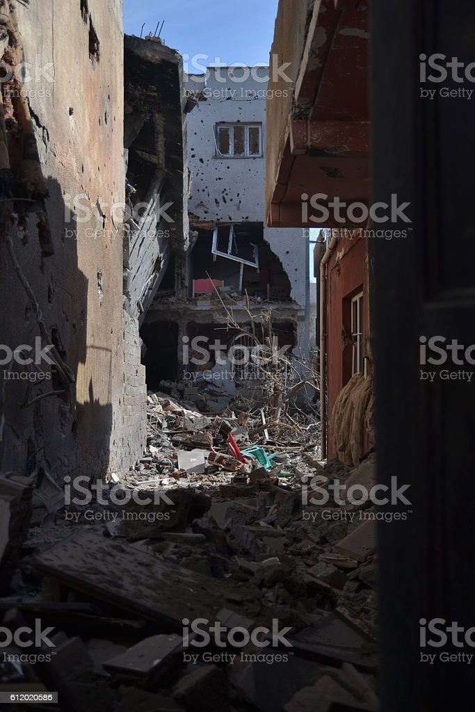 Damaged-Ruined Apartment Building stock photo