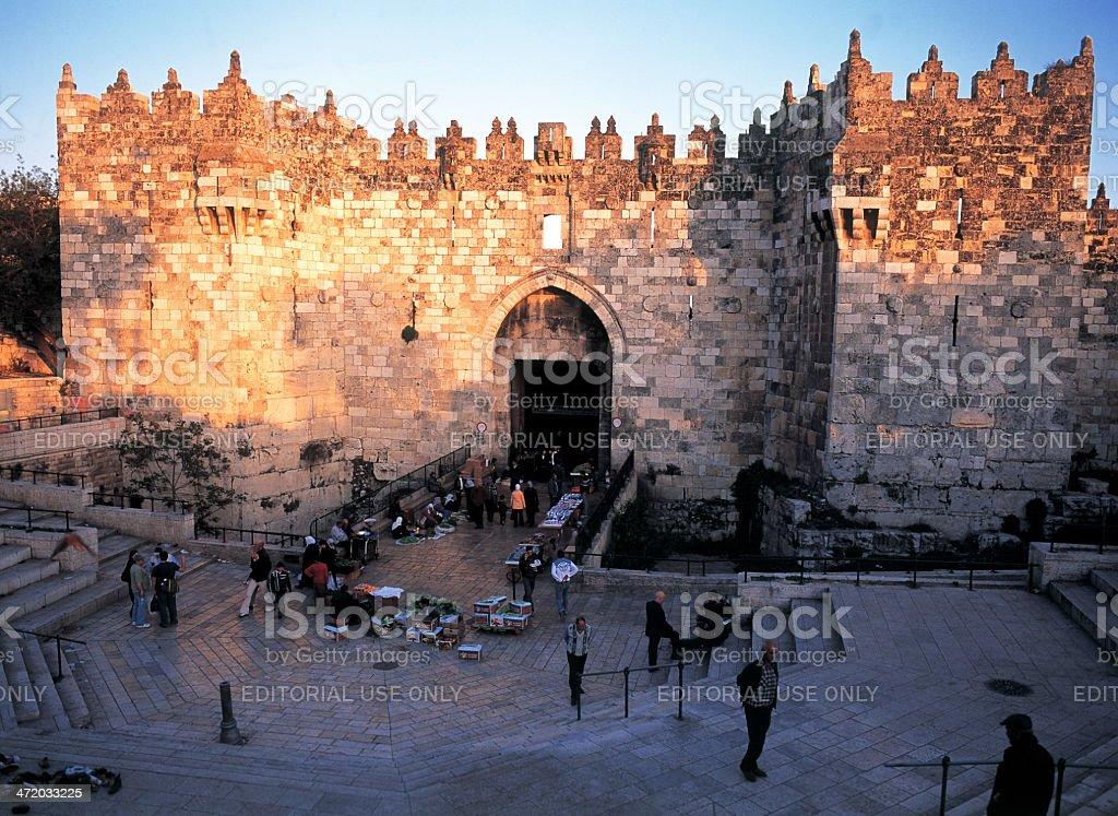Damascus Gate at sunset stock photo