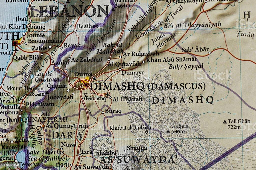 Damascus, Syria map royalty-free stock photo