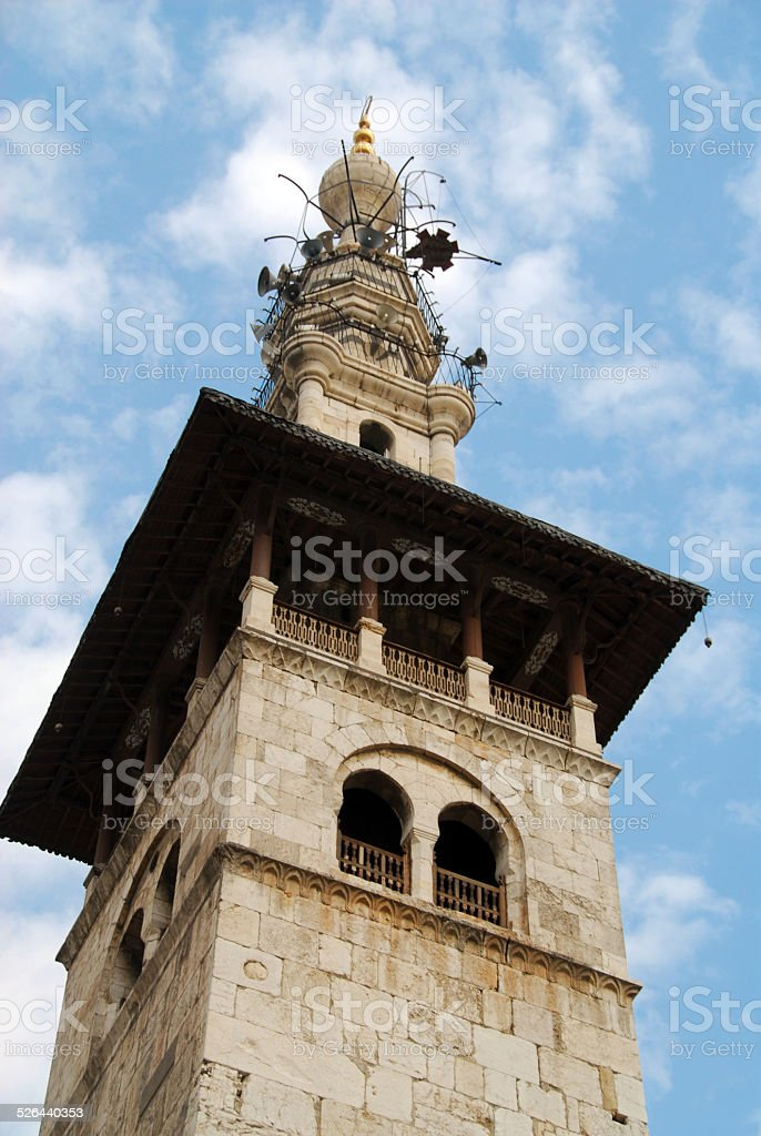 Damascus, Syria: Omayyad Mosque main minaret stock photo