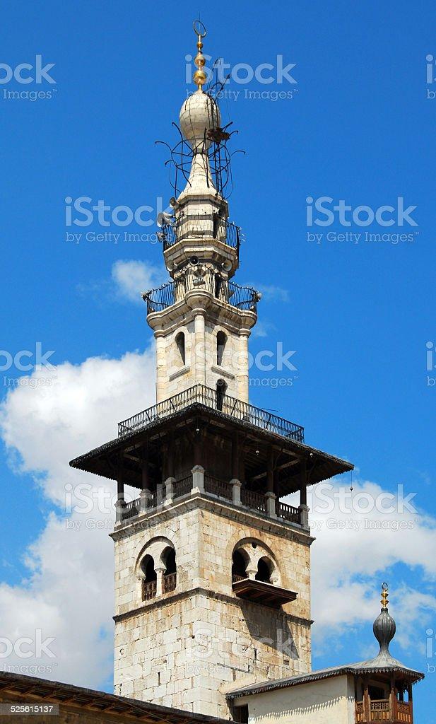 Damascus, Syria: Omayyad Mosque minaret detail stock photo