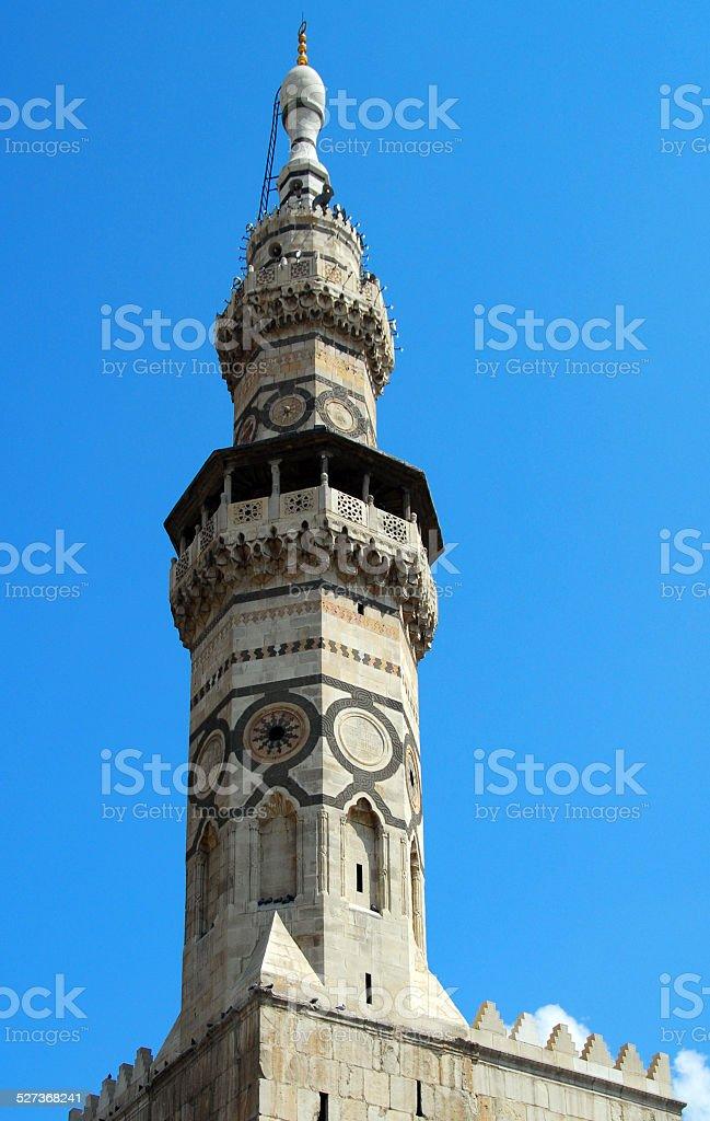 Damascus, Syria: Omayyad Mosque, Qaitbay Minaret stock photo