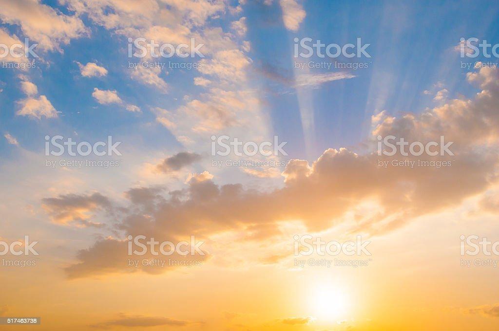 Damatic sunset sky stock photo